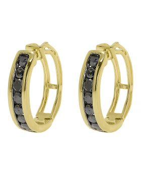 Black Diamond 15mm Round Hoops in Yellow Gold Finish (0.50 ct)