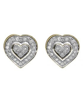 10K Yellow Gold Diamond Dual Heart Earrings  (0.25 ct)