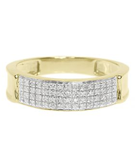 Men's 4 Row Pave Diamond Comfort Band Ring in 10k Yellow Gold 6MM (0.33ct)