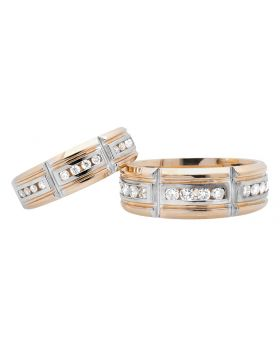Men's Ladies' 14K Two Tone Gold Channel Set Wedding Band Duo Set Ring (1.0ct.)