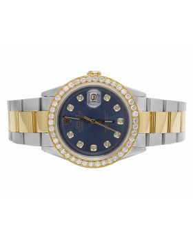 Rolex Datejust 18K Two Tone Oyster 36MM Blue Dial Diamond Watch (3.5 Ct)