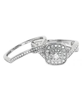 14k White Gold Ladies Solitaire Look Wedding Bridal Ring Set (0.50 ct)