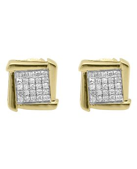 Diamond Square Earrings in 10k Yellow Gold (0.15 ct)
