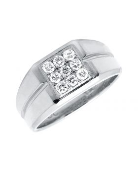 Men's 14K White Gold Diamond Grooved Shank Pinky Band Ring (0.65ct)