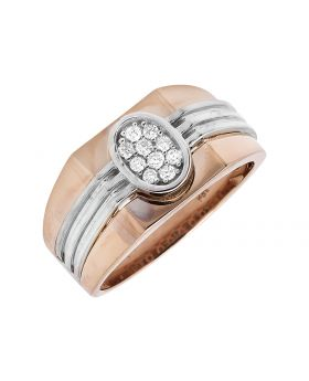Men's 14K Two-Tone Gold Oval Shaped Strip Shank Diamond Pinky Ring (0.25ct.)