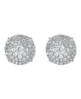 10k White Gold Round Diamond Solitaire Look Earrings 8.5mm (0.75 ct)