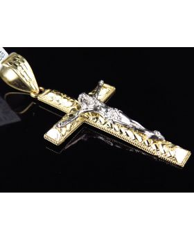 10K Two Tone Gold Nugget Cross Crucifix Diamond Cut  2.5 Inch Pendant Charm