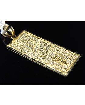 Solid 10K Yellow Gold One Million Dollar Currency Diamond Cut Pendant