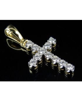 14K Yellow Gold Prong Diamond Cross Pendant 1.25 ct