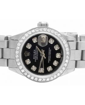 Ladies Rolex Datejust Black Dial 26 MM Steel Diamond Watch (1.75 Ct)