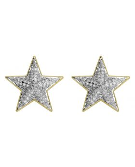 18mm Star Earrings in Yellow Gold (0.75 ct)