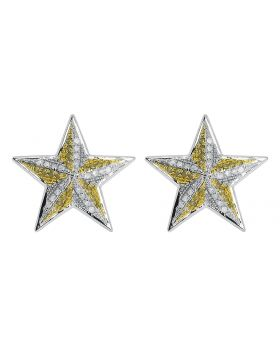 18.5mm Star Earrings with Yellow and White Diamonds (0.75 ct)