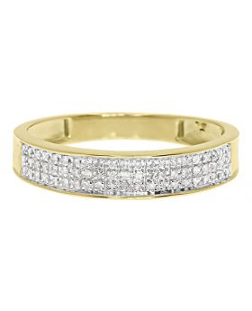 Men's 3 Row Pave Diamond Band Ring in 10k Yellow Gold 4.5 MM (0.28ct)
