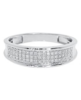10k White Gold Mens 6mm Pave Diamond Band (0.25 ct)