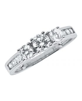10k White Gold Three Stone Diamond Ring (0.75 ct)