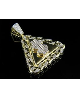 10K Yellow Gold Miami Frame Dollar Pendant 0.86ct