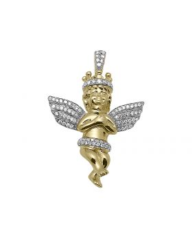 "1"" Consoling Crown Diamond Angel Pendant in 10k Yellow Gold (0.40 ct)"