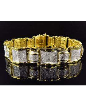 Yellow Gold Finished Puzzle Link Diamond 9 Inch Bracelet (2.10ct.)
