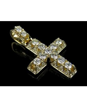 14K Yellow Gold Iced Out 3D Genuine Diamond Cross 2.5 ct