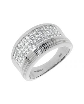 14k White Gold Mens Princess Cut  Wedding Band Ring (2 ct)