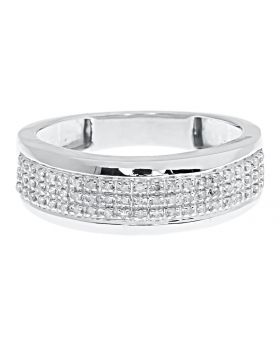 10k White Gold Mens 7.5mm Pave Diamond Band (0.20 ct)