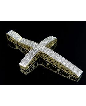 10K Yellow Gold Iced Out Dome Genuine Diamond Cross 1.50ct