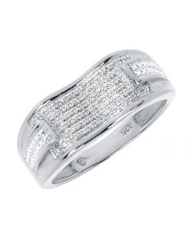 9mm Pave Diamond Concave Band in White Gold Finish (0.34 ct)