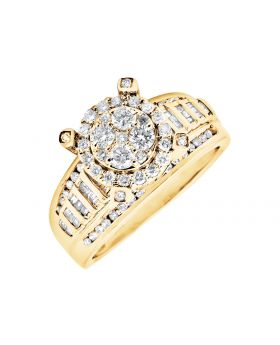 10K Yellow Gold Halo Round Baguette Diamond Engagement Wedding Ring (1.0ct)