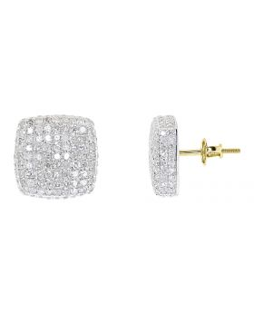 12mm Round Pave Diamond Square Earrings in 10k Yellow Gold (2.5 ct)