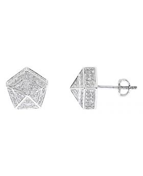 Pave Diamond 10mm Pentagon Earrings in 10k White Gold (1.0 ct)