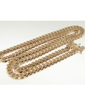 14k Rose Gold Miami Cuban Chain 9.5 mm 28 inch
