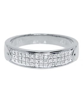 Men's Pave Diamond Beveled Comfort Band Ring in 10k White Gold (0.25ct)