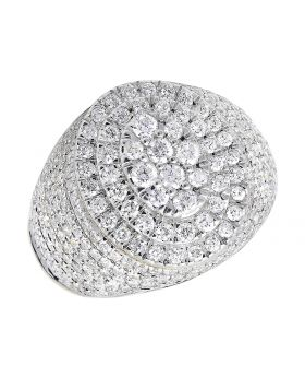 10k Yellow Gold Oval Cluster Dome Round Clear Diamonds 4ct Men's Pinky Ring