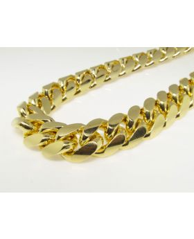 Yellow Gold Miami Cuban Chain in Sterling Silver 14 mm