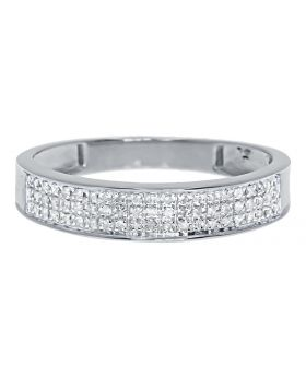 Men's Pave Diamond Comfort Band Ring in 10k White Gold (0.25ct)