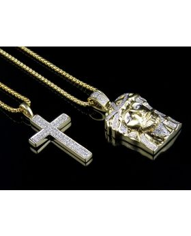 10K Yellow Gold Jesus & Cross Pendant Chain Diamond Combo 0.75ct
