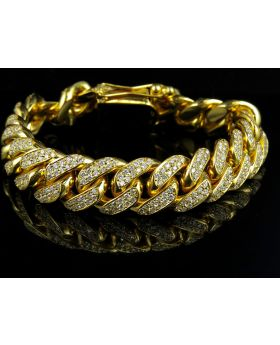 14K Yellow Gold Miami Cuban Link Diamond 8.5 inch 15MM Bracelet (10.5ct)