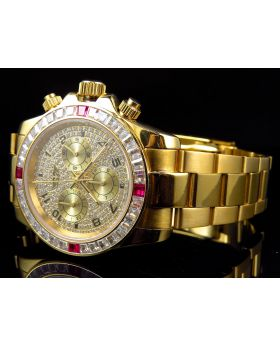 Mens Simulated Ruby & Diamond Luxury Daytona Watch In Yellow Gold Finish