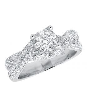 Ladies Cluster Halo Twisted Shank Diamonds 14k White Gold Engagement Ring 1.40ct