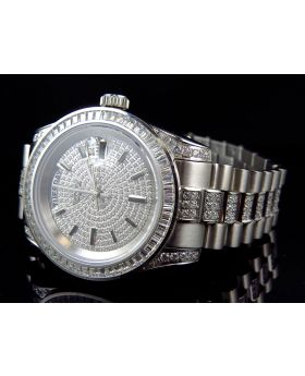 Iced Out Mens Simulated Diamond Luxury Presidential Watch In White Gold Finish