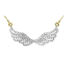 10k Yellow Gold Pave Diamond Angel Wing Necklace (0.25 ct)