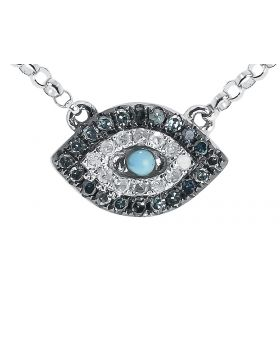 Evil Eye Blue White Diamond Necklace in White Gold (0.25 ct)
