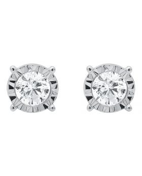 6mm Round Solitaire Diamond Bezel Earrings (.75 CT)