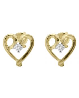 Real Diamond 10K White Gold Twisted Heart Earring Studs .33 ct