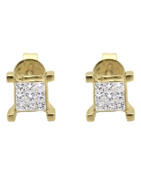 4 Prong Earrings with Princess Diamonds 6mm (0.40 ct)