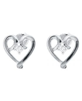 10k White Gold Heart Shape Earrings with White Solitaire Diamond(0.10 ct)