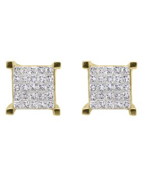 4 Prong Earrings with Princess Diamonds 8.5 mm (1 ct)