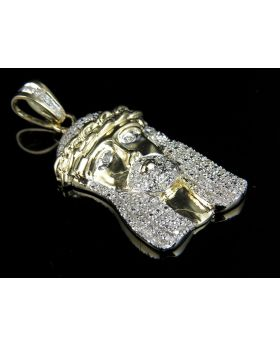 Solid 10K Yellow Gold Jesus Face Real Diamond Pendant Charm 0.50 ct