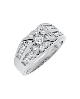 10K White Gold Solitaire Genuine Diamond Wedding Pinky Ring (1.0ct.)
