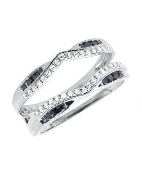 Ladies Ring Wrap Enhancer Blue Diamond In 10k White Gold .37 Ct
